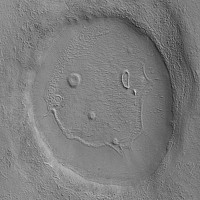 Mars Happy Face (Smile) #2, image acquired by the Context Camera (CTX) on Mars Reconnaissance Orbiter on January 28, 2008