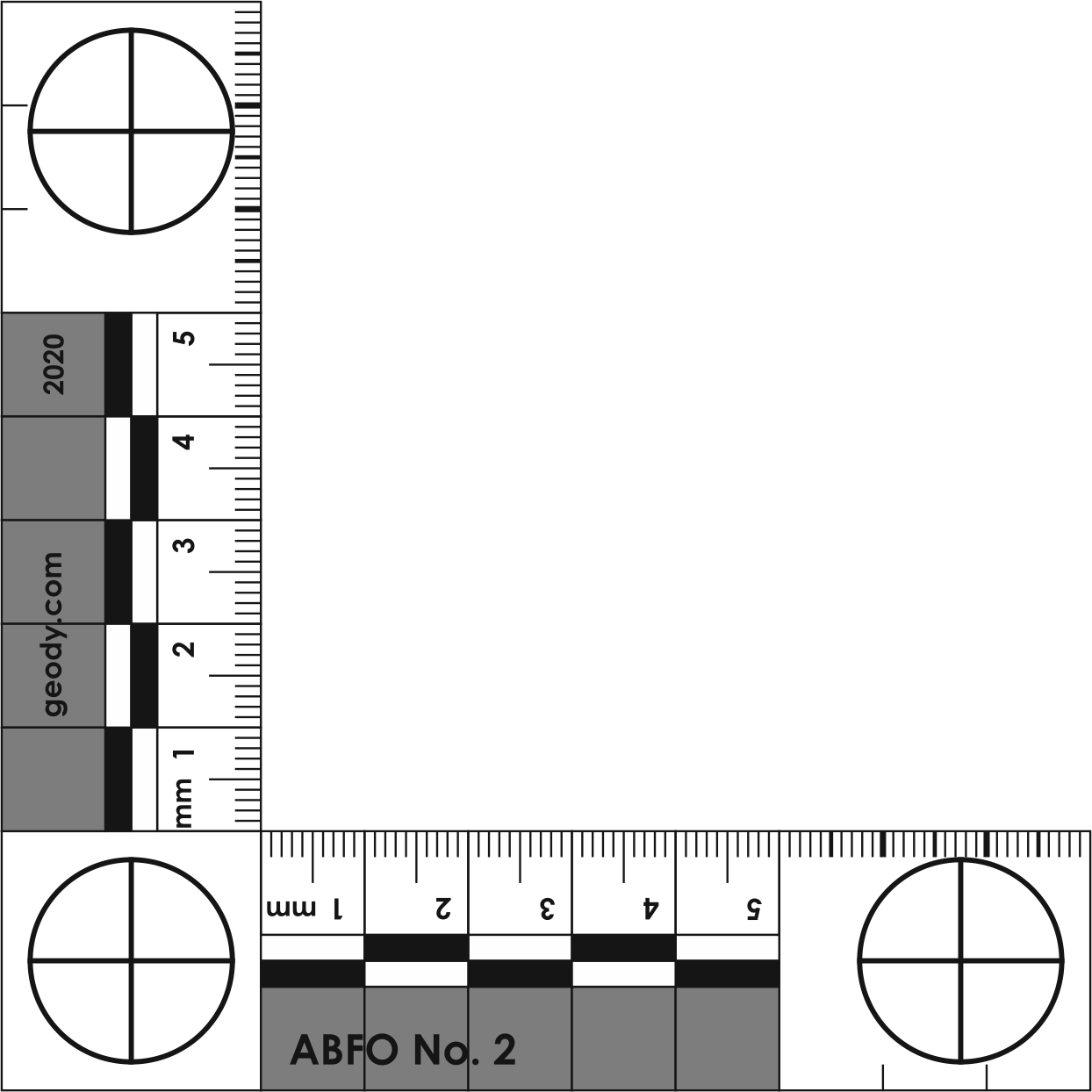 L-shaped (right angle) Photo Scale Ruler (ABFO No. 2 standard)