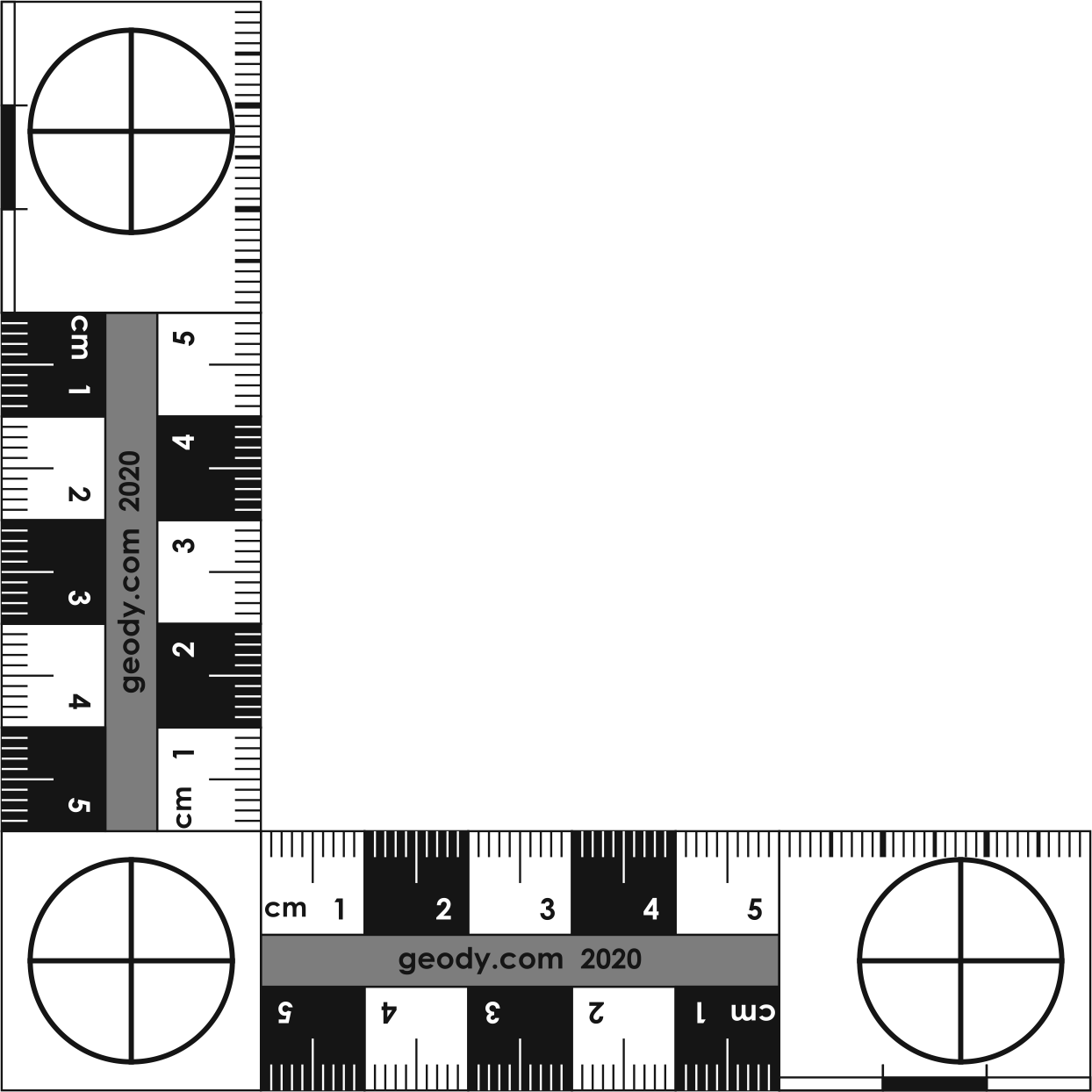 L-shaped (right angle) Photo Scale Ruler
