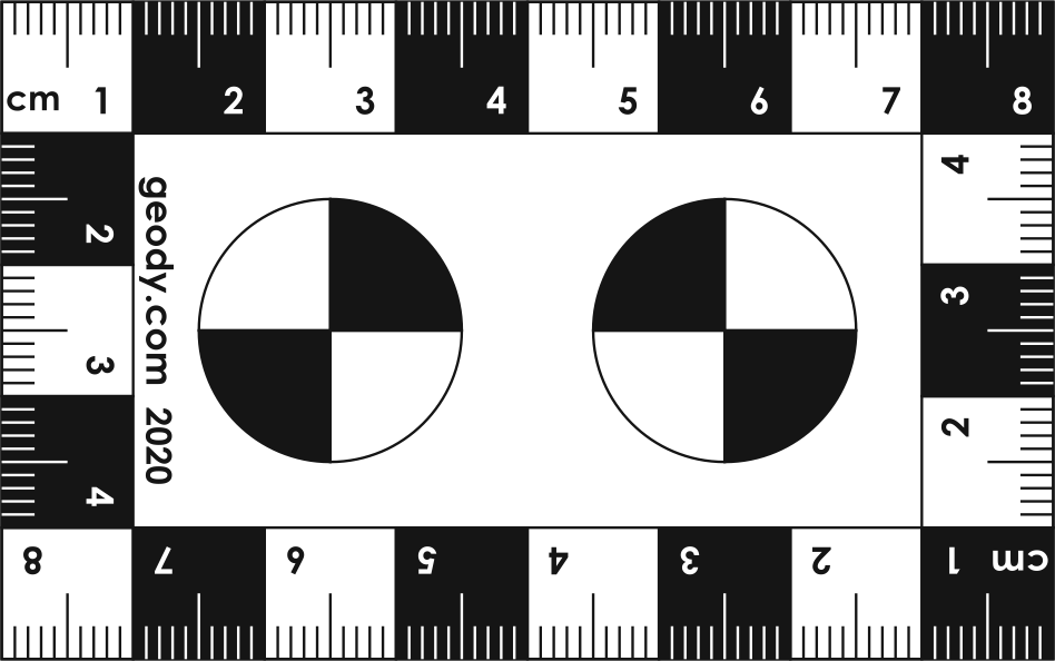 Business Card size Photo Scale Ruler with two Circles