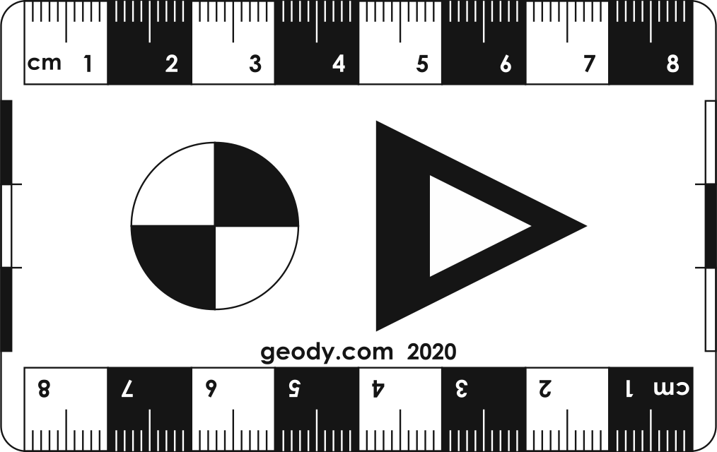Credit Card size Photo Scale Ruler with one Circle and a Arrow